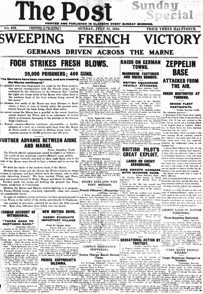 Sunday Post, 'Sweeping French Victory', 21 July 1918: #1918Newspapers #otd #FWW