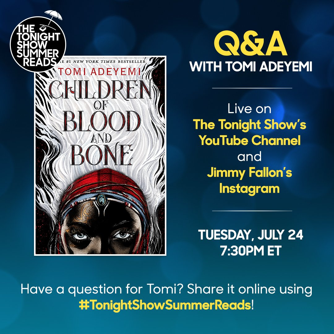 Jimmy will be sitting down with @tomi_adeyemi for a LIVE Q&A!! Submit your questions using  and#TonightShowSummerReads join the live conversation on YouTube and Instagram this Tuesday!!