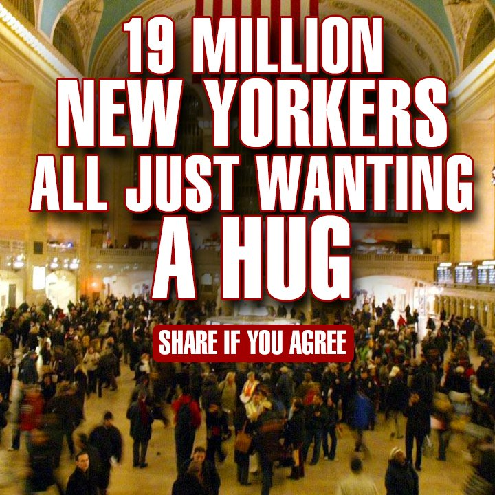 New York can be a stressful place to live, maybe all we need is a hug. #stress #relief #happy #smile #compassion