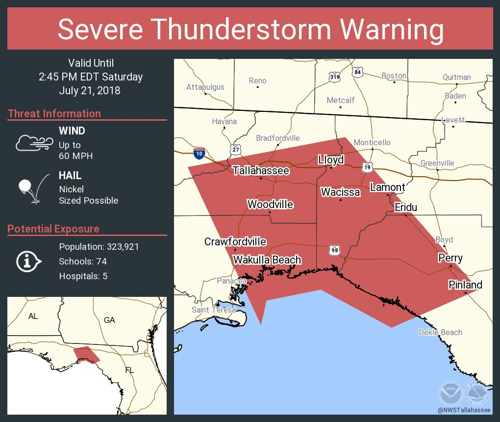 Nws Tallahassee On Twitter Severe Thunderstorm Warning Including