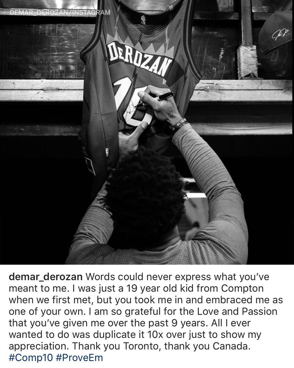 DeMar DeRozan returned to IG with a thank you to the Raptors. (via @DeMar_DeRozan)
