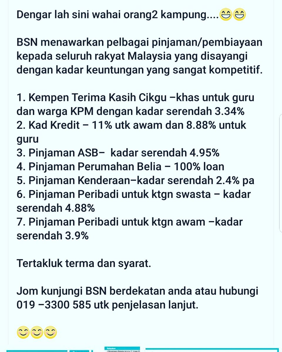 Chempaqaputeri On Twitter Promosi Pinjaman Di Bsn