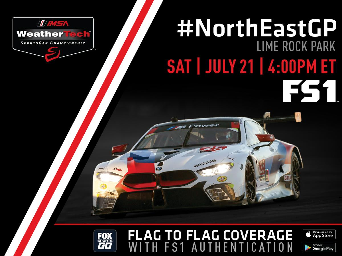 Catch the eighth round of the @IMSA #WeatherTechChampionship as it rolls into @limerockpark! Watch the #NortheastGP on FS1 today at 4pm ET. Get more info on the race right here → https://t.co/afiubwzgym