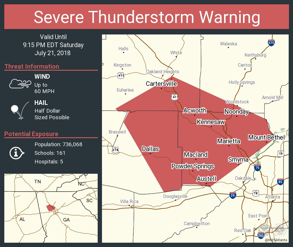 Map Of 575 Georgia.Nws Atlanta On Twitter Severe Thunderstorm Warning Including