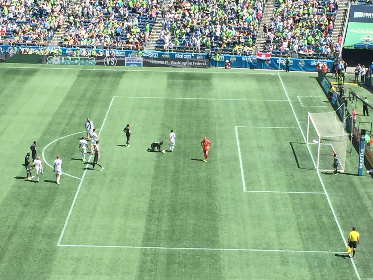 #Sounders breathe sigh of relief as handball call on Marshall in box waved off after VAR review. Would have been a PK.  Sounders head to halftime up 2-0.