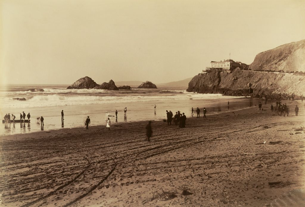 American photographer Carleton Watkins was known for photographing scenes of recreation, like this image, near the Cliff House outside of San Francisco. This image captures individuals clearly thanks to a more advanced technology of the late 1800s. bit.ly/2LchfOZ