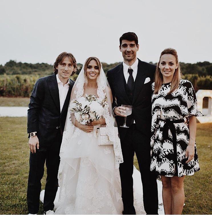 Pic   Modric with wife at Corluka's wedding