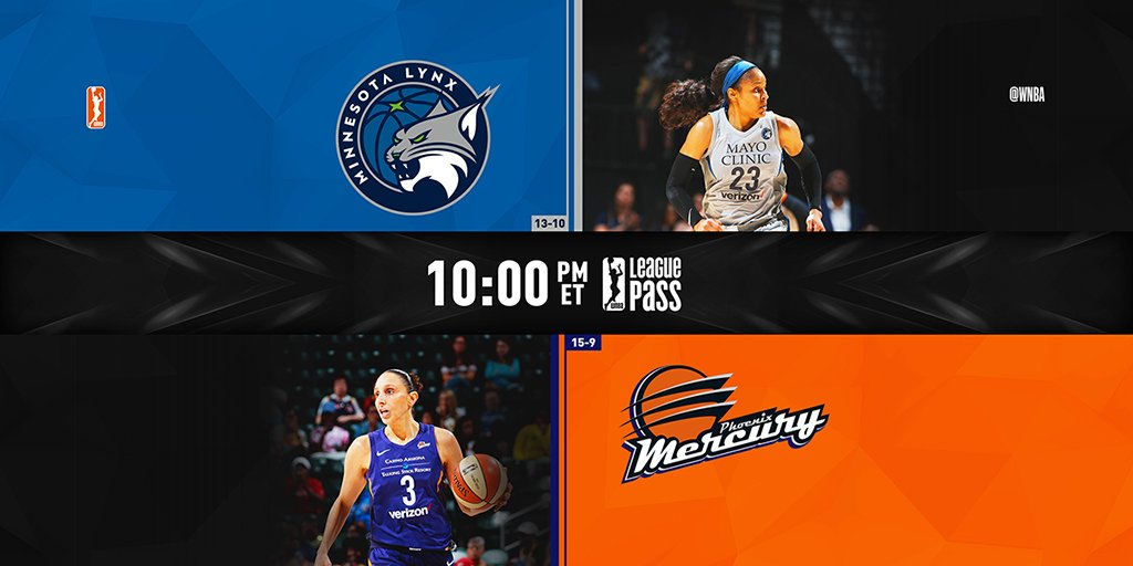 Two hours to go until the last of Saturdays two-game slate! The @PhoenixMercury return home to host the @minnesotalynx tonight, 10pm/ET on League Pass! #WatchMeWork Tune in 📺