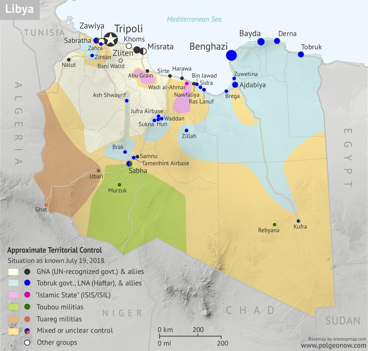 Территориальный контроль Ливии. 19.07.2018