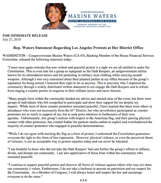 Please read my statement regarding the protests at my district office last Thursday.