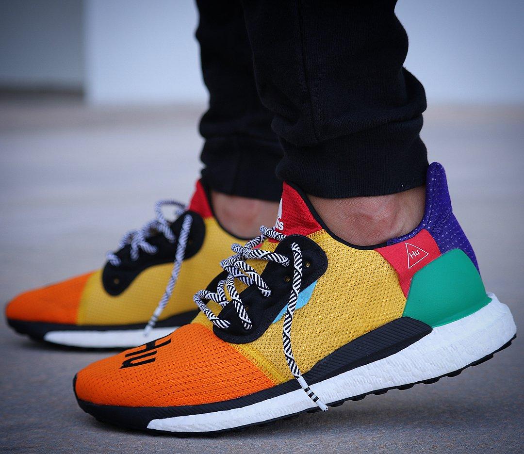 An on-feet look at @Pharrells upcoming Adidas Solar Glide Hu. 📸: @storebyjc