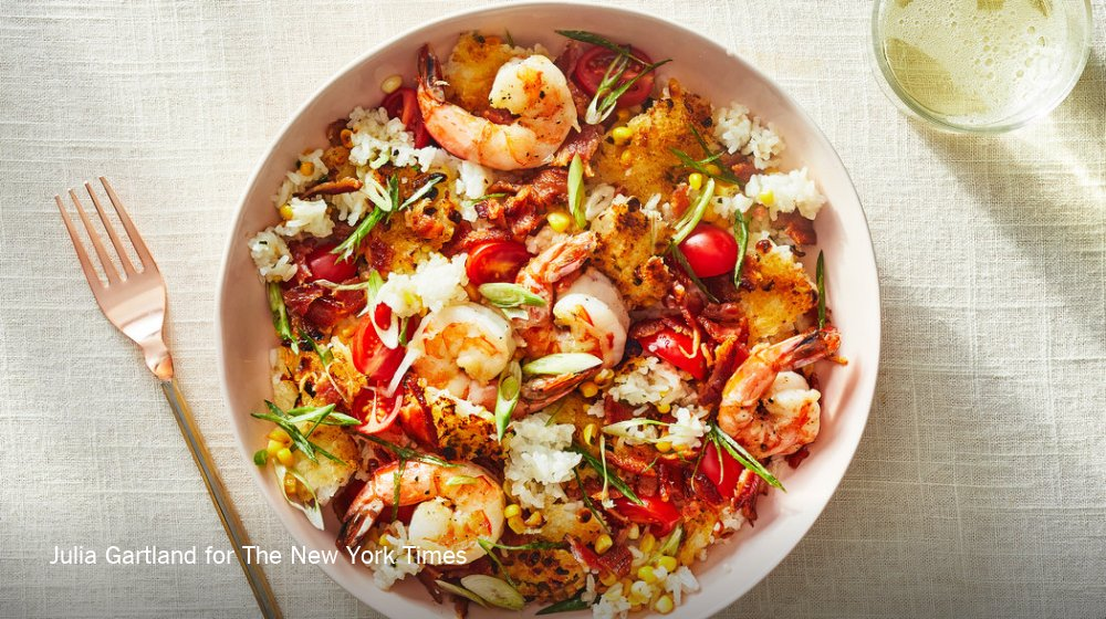 Turn leftover rice into a delicious new meal with this crispy rice with shrimp, bacon and corn recipe https://t.co/pyBROX30ml