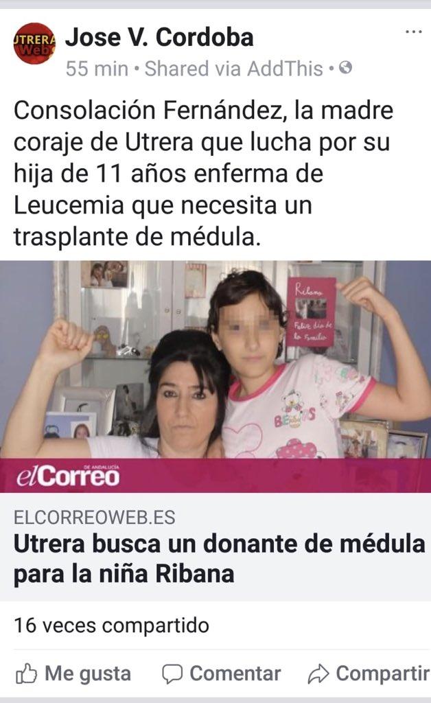 Deseando que haya un donante para la hija de Consolación de Utrera Sevilla . Compartirlo!