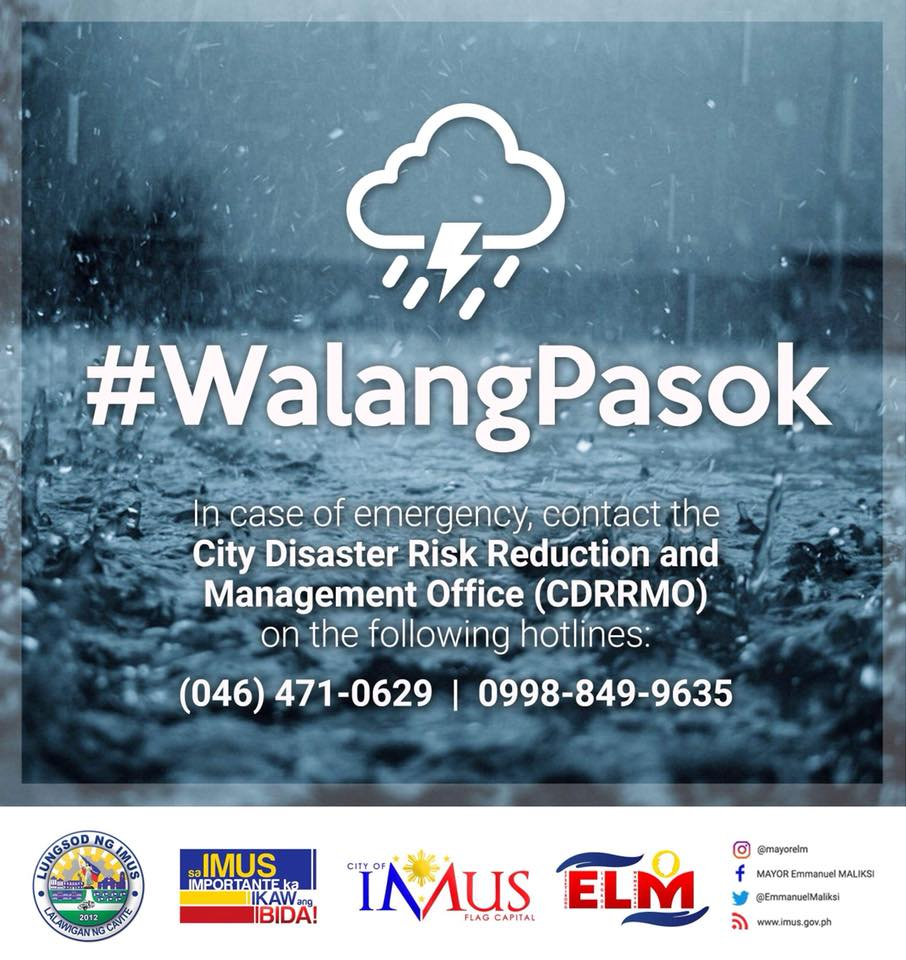 @angelmovido IMUS, Cavite | #WalangPasok  in all levels (public and private) on Monday, July 23 due t #JosiePHo   | via Mayor Emmanuel Maliksi FB https://t.co