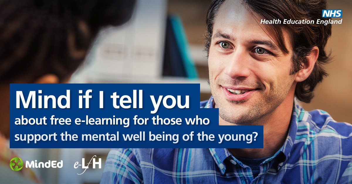 Access the free @HEE_TEL MindEd e-learning programme which is an educational resource on children and young people's mental health for all adults  https://t.co/81OJLOJpNZ