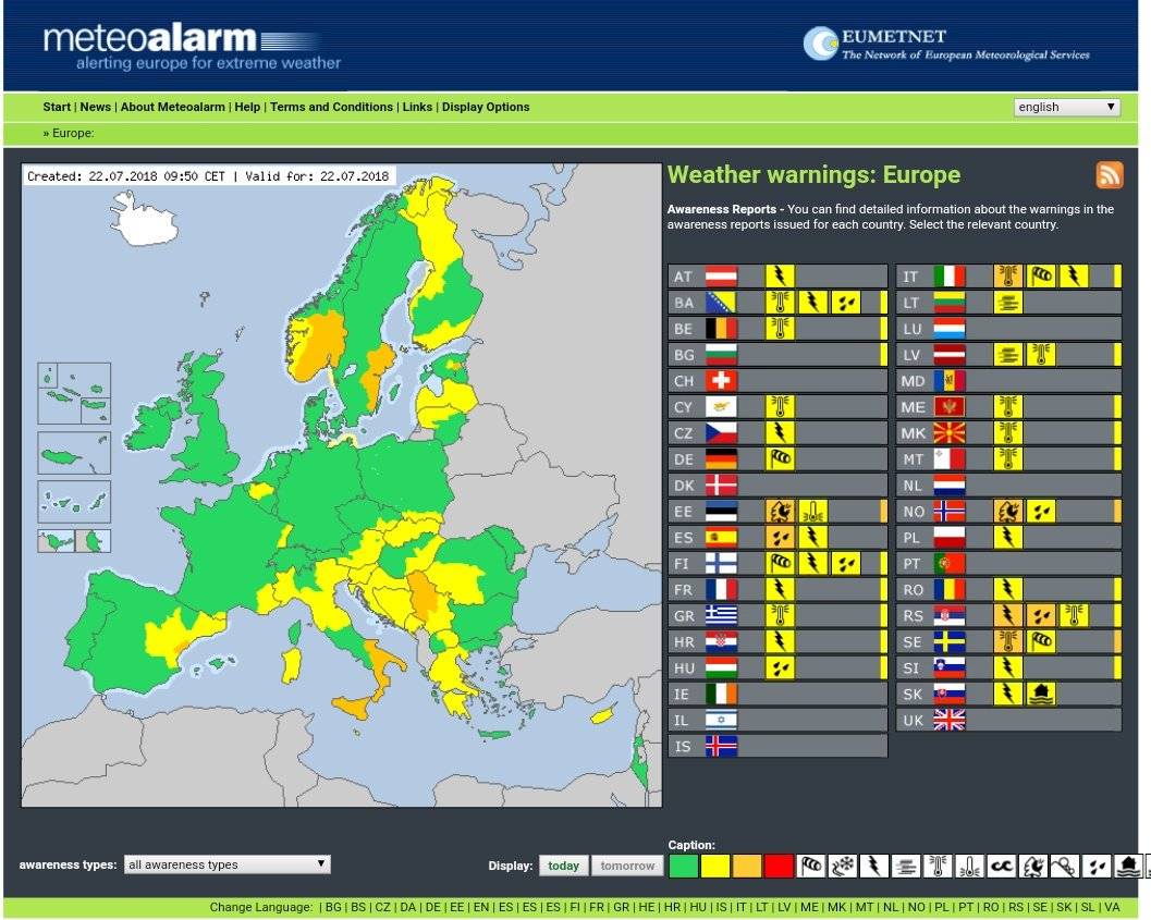 Meteoalarm map and table of Europe showing active orange and yellow weather warnings, per country.