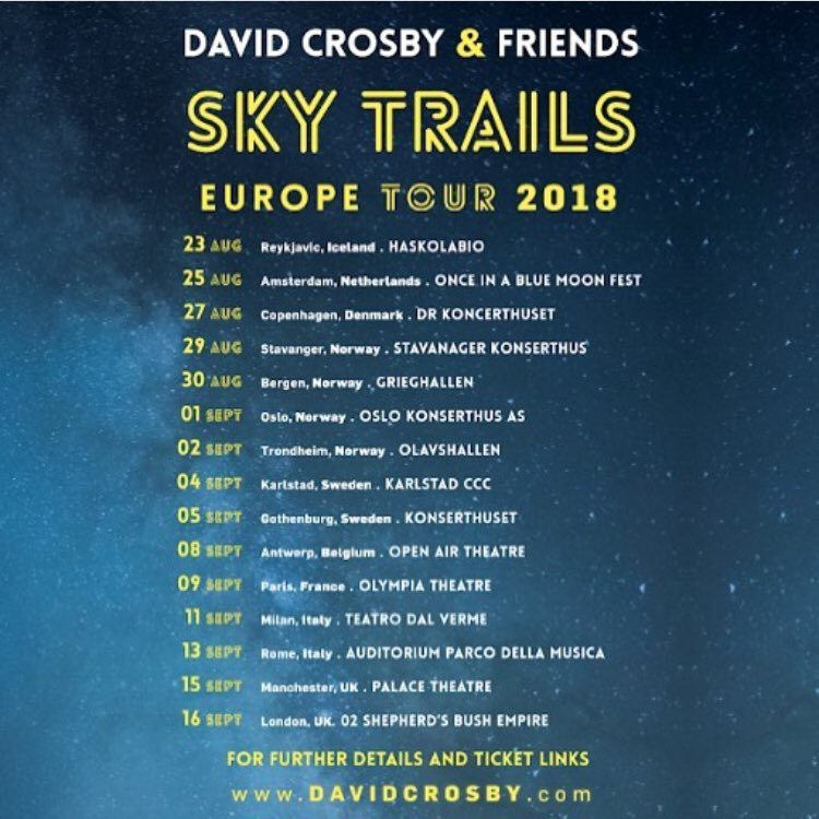 I'll be back in Norway, Europe + Scandinavia soon, with none other than @thedavidcrosby and the #SkyTrails band in just a few weeks. Hope to catch that midnight moonlight again... See you soon. # # # # # # # # ##skytrailstour #davidcrosby<br>http://pic.twitter.com/vyM8wWP7oD