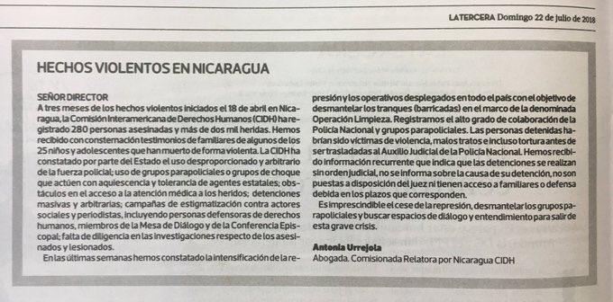Sobre la situación en Nicaragua. Diario La Tercera. Chile