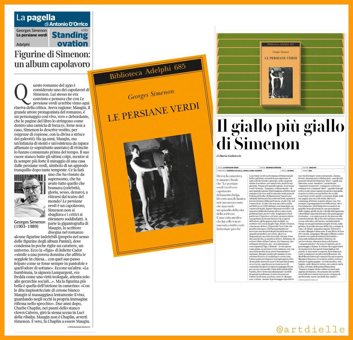 #LePersianeVersi è un romanzo del 1950 ed è considerato uno dei capolavori di Simenon. Lui stesso ne era convinto e lo diceva anche Boule, la sua cameriera (ed amante). Oggi viene osannnato da Antonio D'Orrico su @La_Lettura e da Daria Galateria su @rep_cultura .. e Simenon sia!