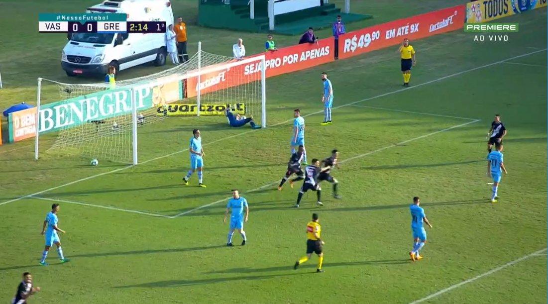 Gol do Vasco! Andrés Ríos abre o placar contra o Grêmio com apenas 2 minutos de jogo. Acompanhe: https://t.co/pu6vZKMJec