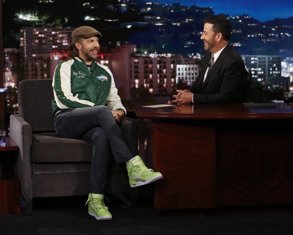 "#SoleWatch: Jason Sudeikis wearing the ""Ghost Green"" Don C x Air Jordan Legacy 312 on Kimmel. 📸: Randy Holmes"