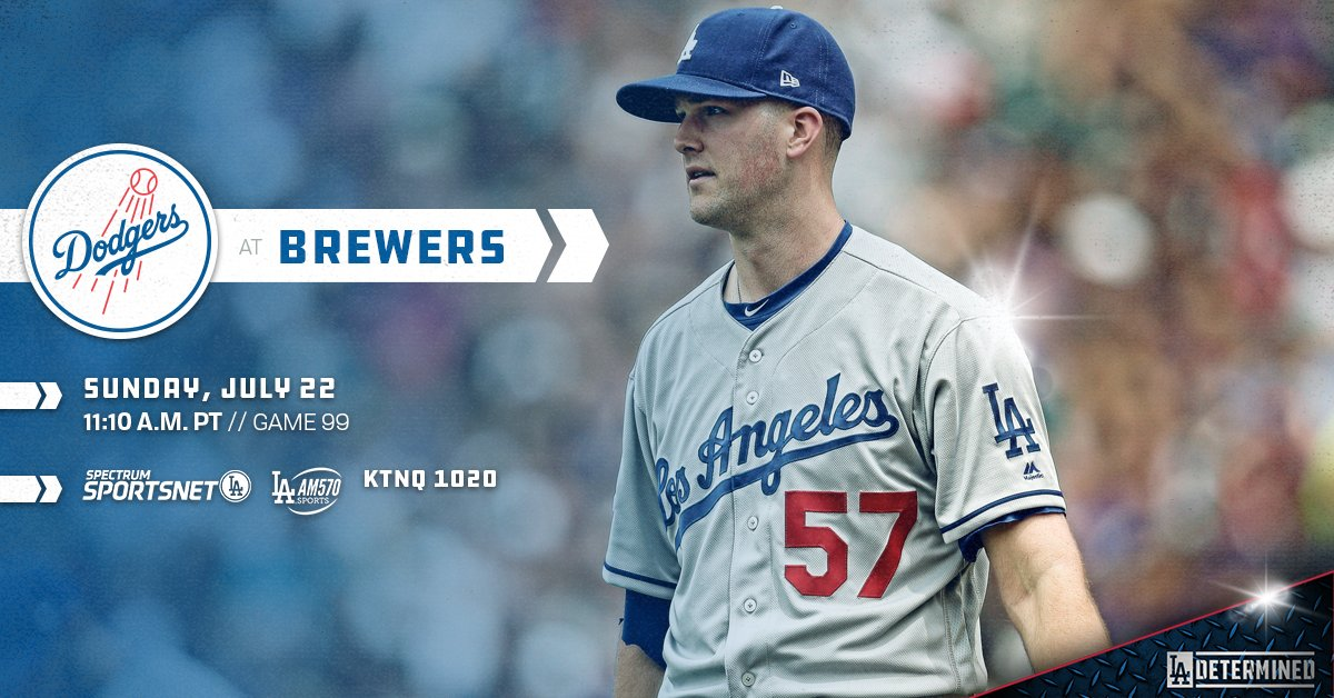.@Awood45 gets the call in the series finale against the Brewers. #Dodgers  ��: https://t.co/bOjqh3pDYo https://t.co/89gDql4obZ