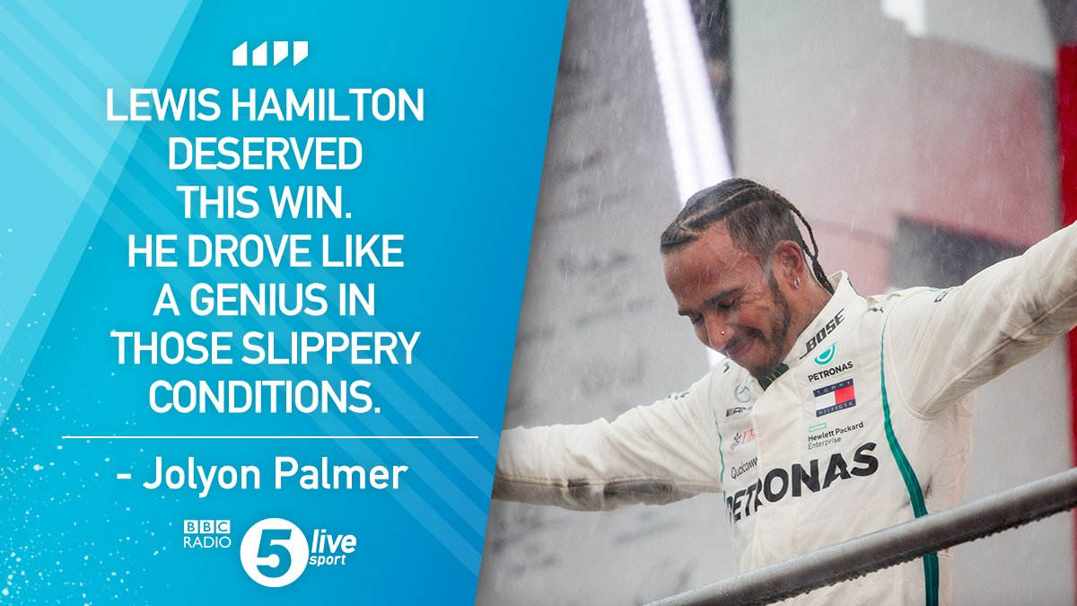 A 44th win as a Mercedes driver for #44...  @JolyonPalmer says Lewis Hamilton 'drove like a genius' in the slippery #GermanGP conditions.☔👏   #F1 📝: https://t.co/cbJWNxejeI