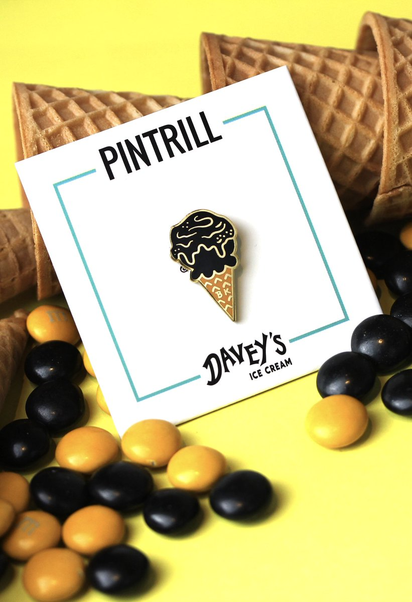 GET THE SCOOP 🍦 #PINTRILL x @daveysicecream releases today • Come to our flagship store in #Williamsburg to get your limited edition pin, then visit Davey's Williamsburg for a free scoop of our Black & Gold flavor 🍫
