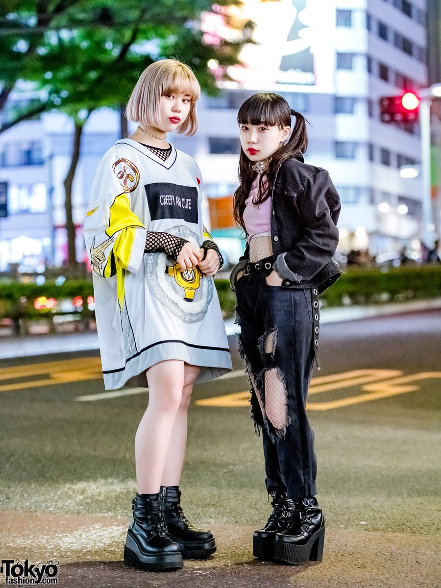 """Japanese teens Sarah & Beni on the street in Harajuku wearing a mix of resale and new fashion including a W.I.A. """"Creepy & Cute"""" shirt dress, Ecko denim jacket from Pinnap, Demonia, Dolls Kill, and Dog Harajuku  #原宿https://t.co/HWYOzpDcHn"""