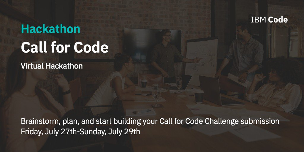 Join us next weekend for our #CallforCode Virtual hackathon. Connect with technical experts, get access to great content and start building your solution to address natural disasters: https://t.co/ETLQuKZUOl