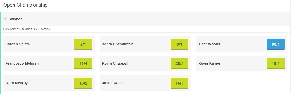 Eight players still in the betting for the Open, who wins it from here?  Full betting: https://t.co/3HVGu8IWlU    #TheOpen