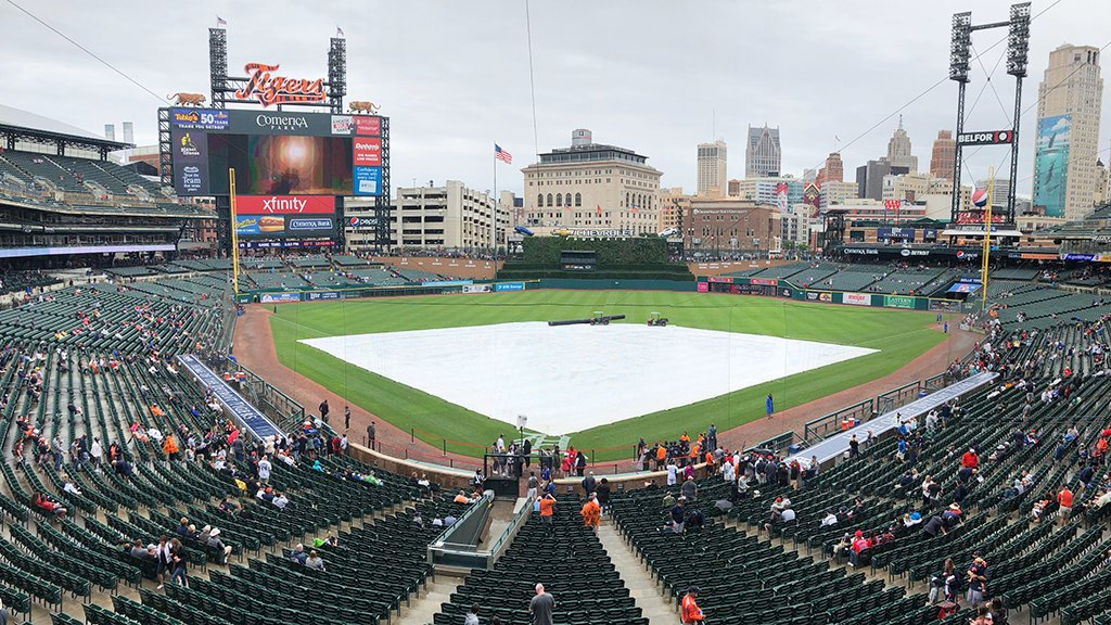 The start of today's game has been delayed due to inclement weather. We will update you as soon as we have more info.