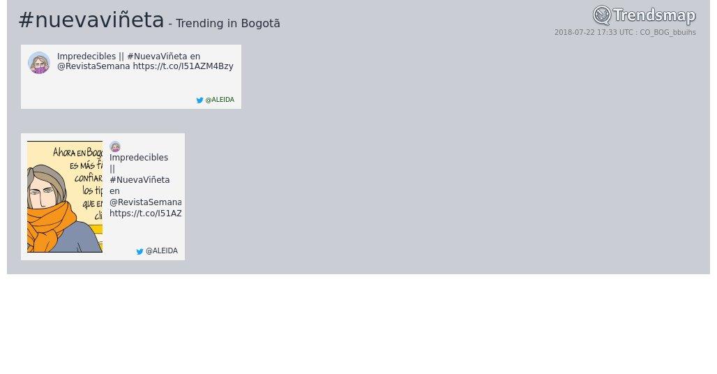 #nuevaviñeta es ahora una tendencia en #Bogotã  https://www.trendsmap.com/r/CO_BOG_bbuihs