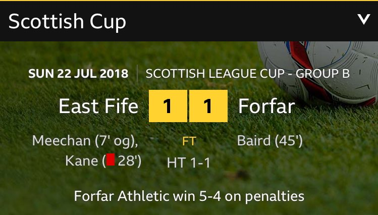 FORFAR 5 EAST FIFE 4 HAS HAPPENED.