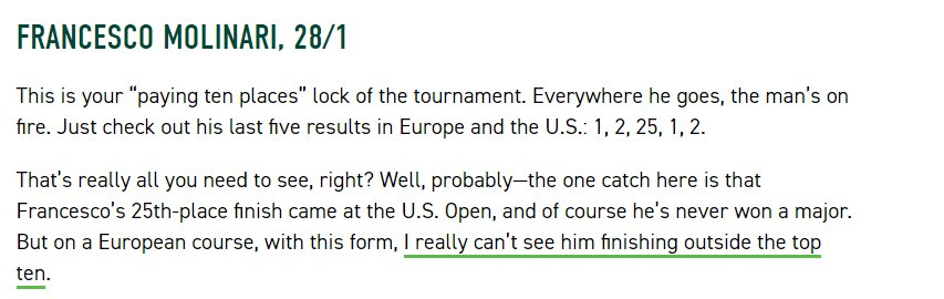 Hat-tip to @ShaneRyanHere for one of his pre-tournament picks over on PP News. Anyone get on it? #TheOpen