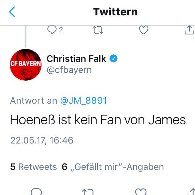 To everyone who still believes everything Christian Falk is saying about the Martial rumours: This is what he responded when he got asked about James last year:  Hoeneß is not a fan of James. We signed him 4 weeks later. Photo
