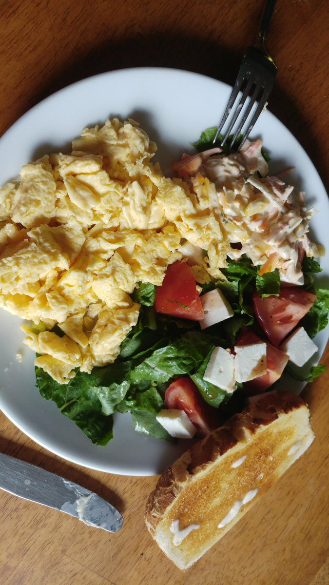 My tummy is so excited... Salad with feta cheese scrambled...