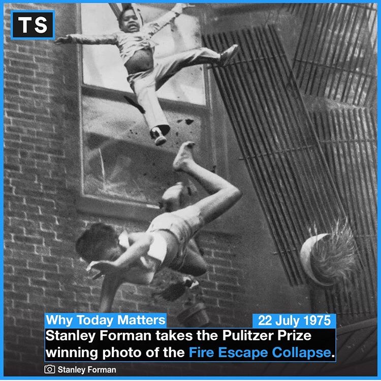 """""""I can still remember turning around and shaking."""" Bryant died from the fall, her body cushioning the blow for her goddaughter, who survived. Forman was able to freeze the horrible tumbling moment down to the expression on young Tiare's face. #OTD #History #Picture #PulitzerPrize"""