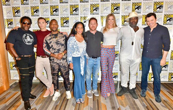 Almost the whole @TheOrville gang @Comic_Con I look a little startled but then who wouldn't be? #TheOrville #SDCC @AdriannePalicki @ScottGrimes @SethMacFarlane @PennyJJerald @jleefilm @ChadLColeman #PeterMacon