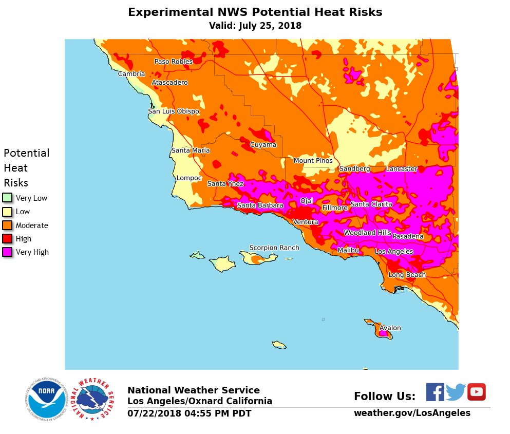Experimental Heat Risk for Wednesday, July 25th