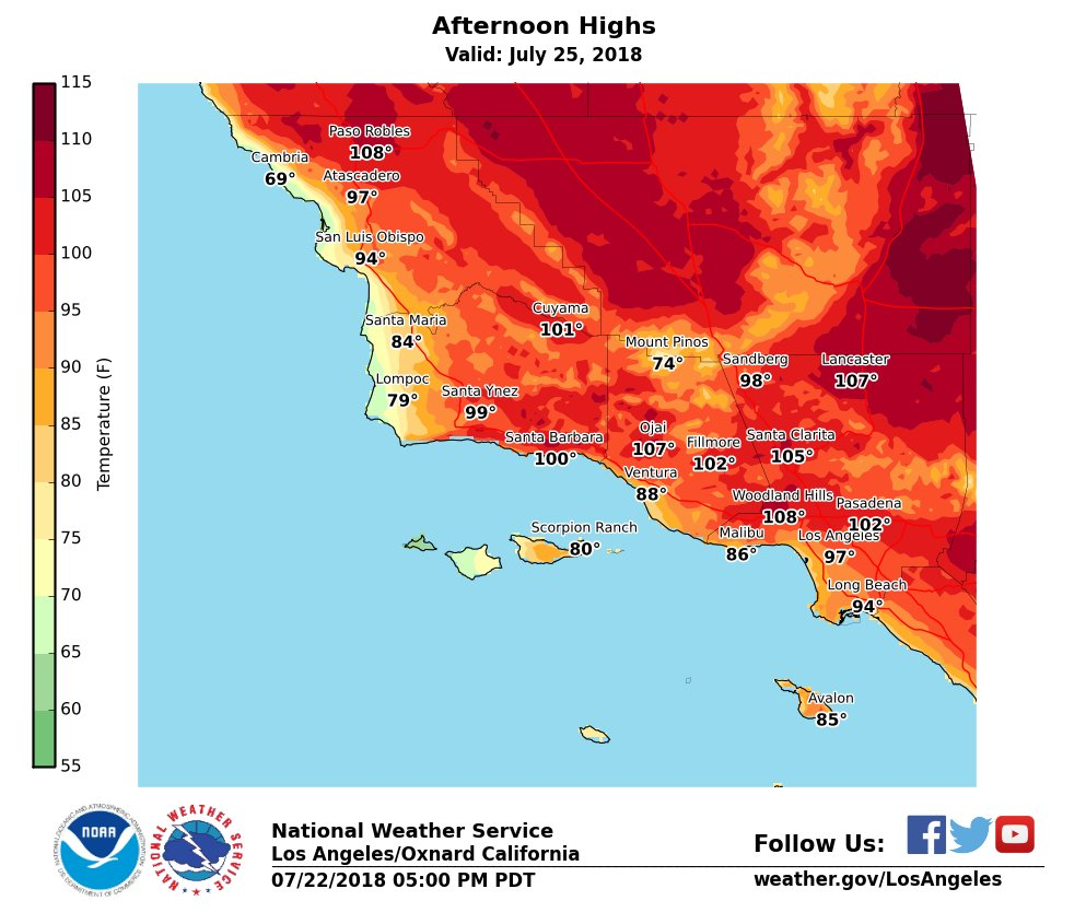 Afternoon high temperatures for Wednesday, July 25