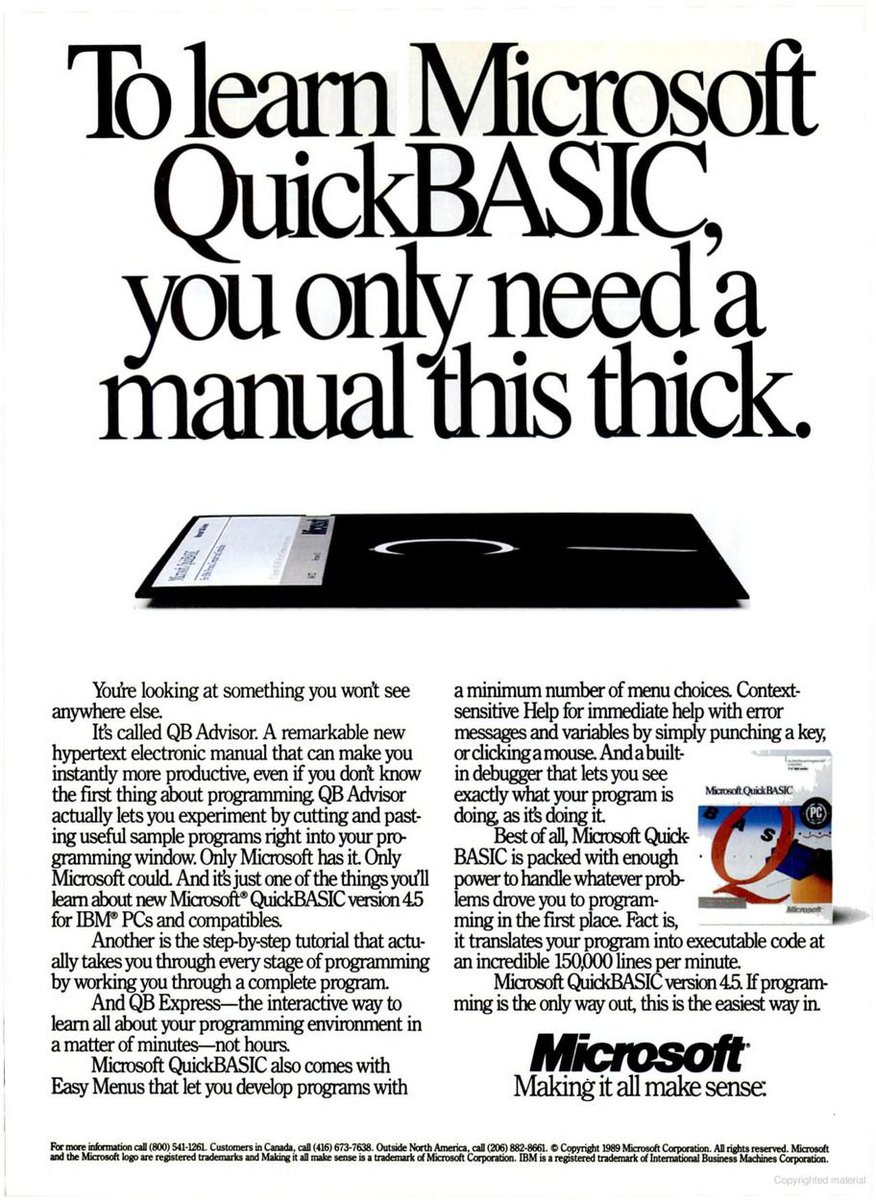 """Vintage PC Ads on Twitter: """"To learn Microsoft QuickBASIC, you only need a  manual this thick. [Microsoft, 1989] Wiki: https://t.co/lniAcFE3Gw ..."""
