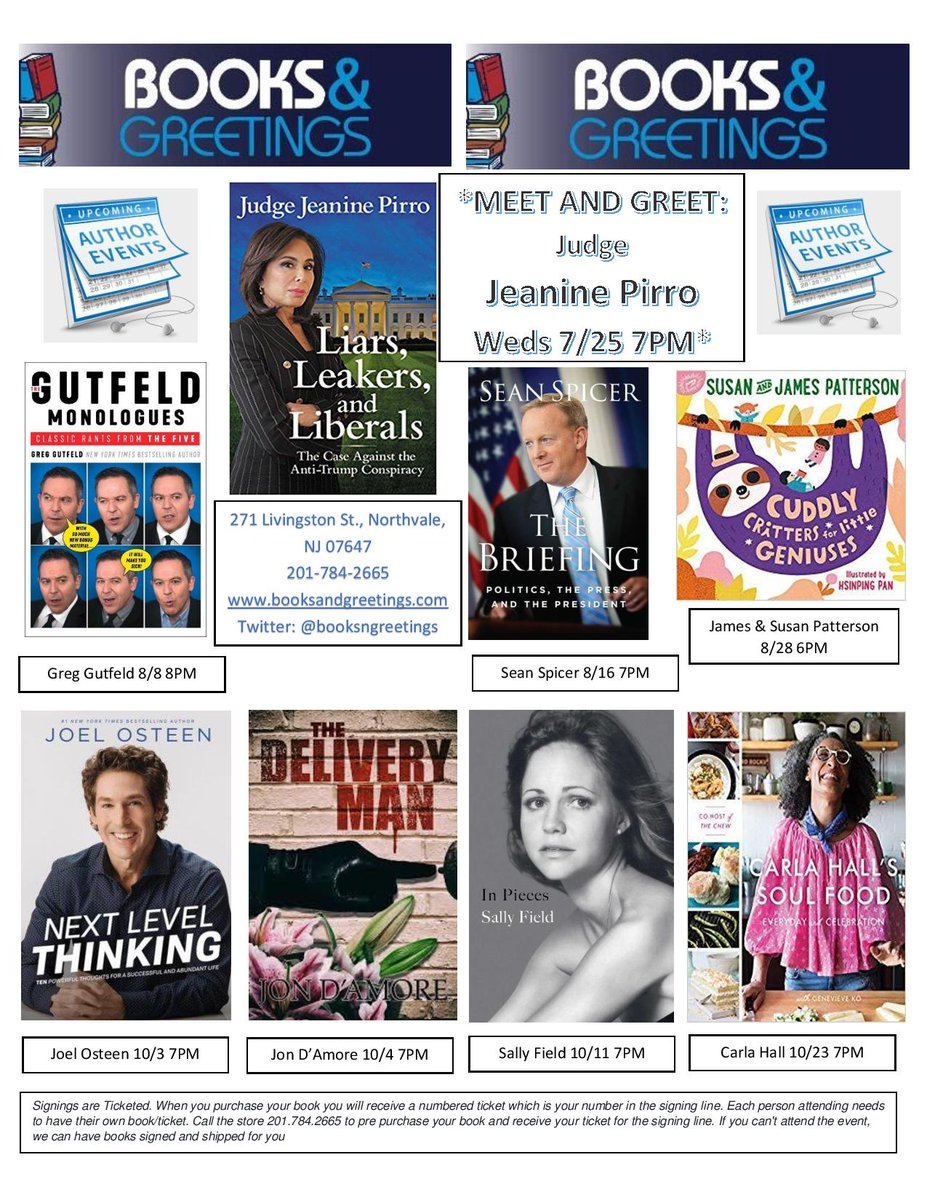 Books and greetings booksngreetings twitter check out all of our upcoming booksignings meetandgreet books judgejeanine greggutfeld seanspicer jpbooks joelosteen jondamore sallyfield m4hsunfo