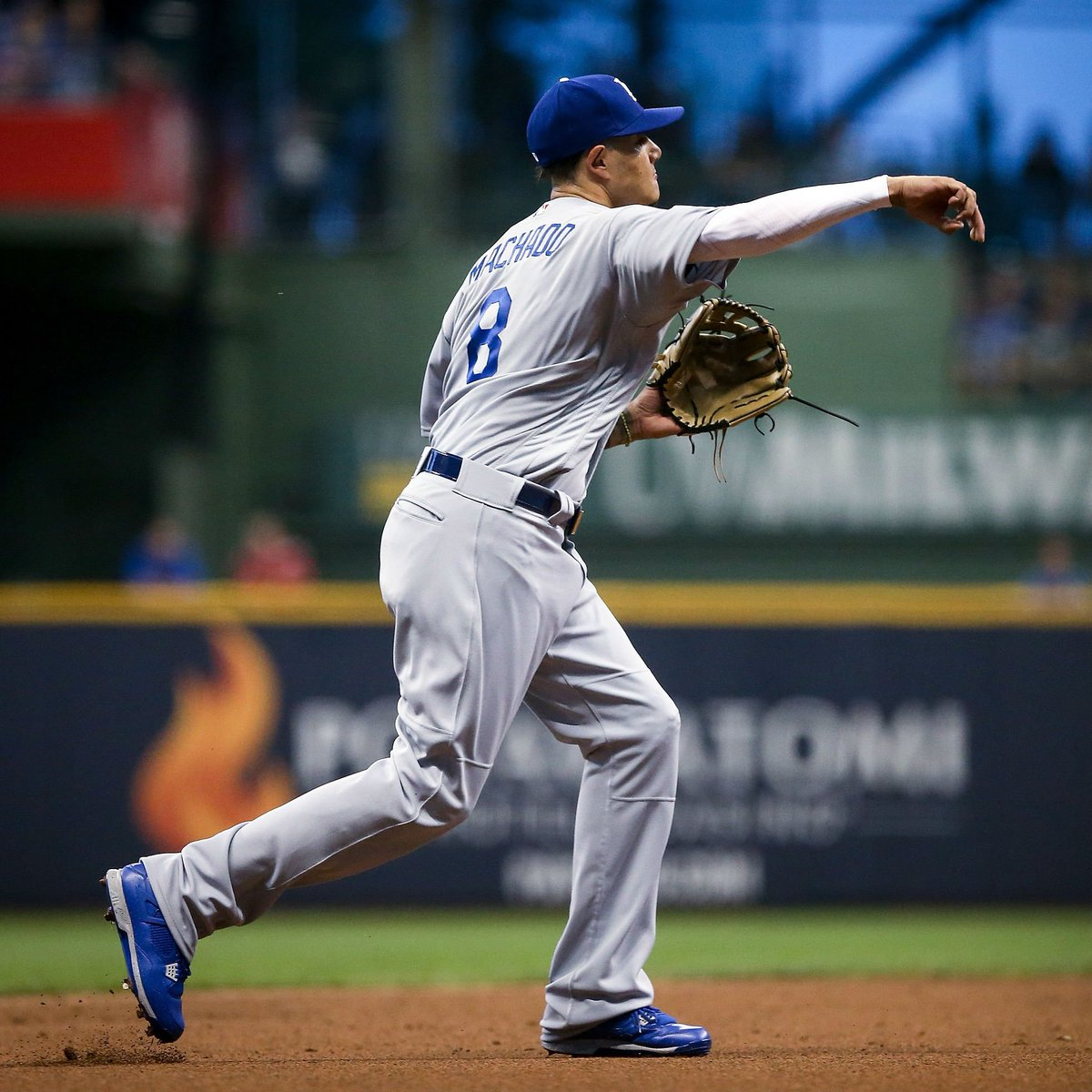 #SoleWatch: New Dodgers shortstop Manny Machado wearing blue Air Jordan 4 cleats.
