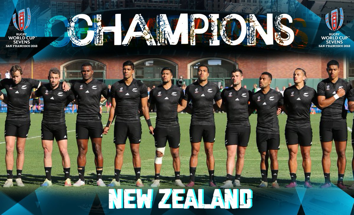 CHAMPIONS! @nz7s have defended their Rugby World Cup Sevens crown after beating England 33-12 in San Francisco #RWC7s