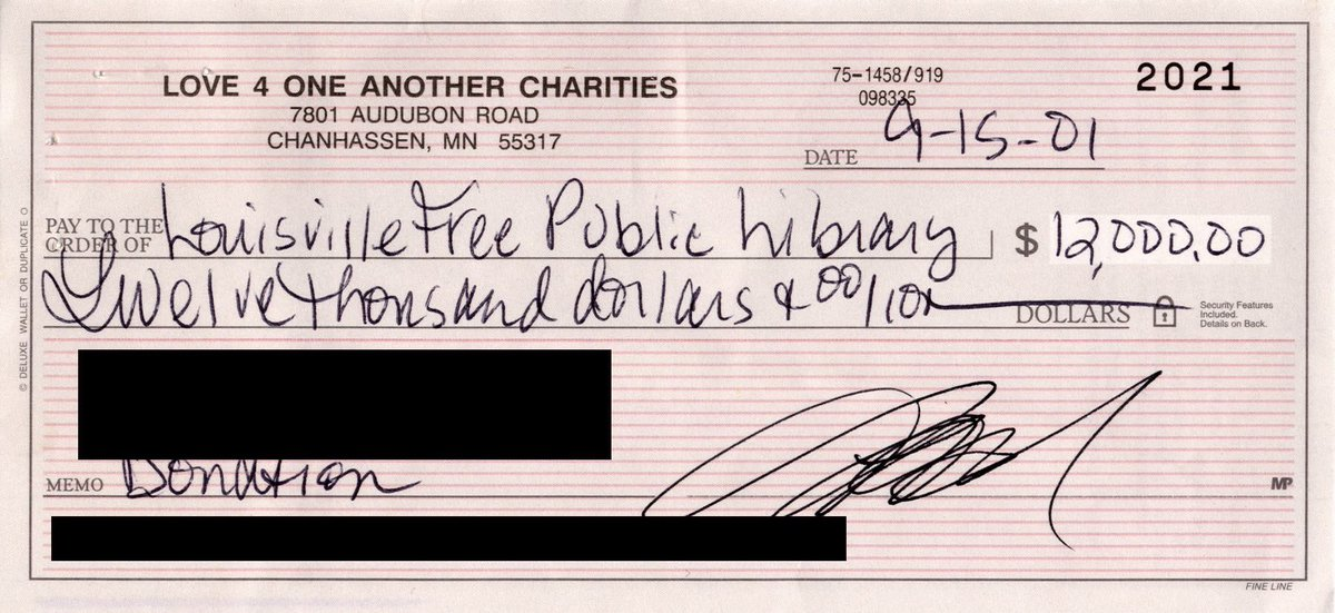"""In 2001, Prince donated  $12,000 to save the Louisville Free Public Library's Western branch, the first to serve African American patrons. Prince dedicated the gift to """"assist your library in reaching all areas of the community""""https://t.co/NpIVgnF25Z."""