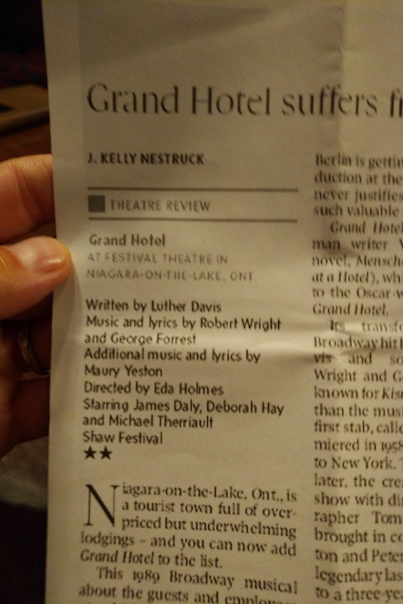 Just saw Grand Hotel at @Shawtheatre. @nestruck,  how could you give this such a poor review? It was phenomenal! The whole audience I saw it with disagrees with you.