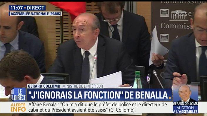 DIRECT #Benalla Qui a invité Benalla le 1er mai? 'Je n'en sais rien. Le Préfet de police devait être au courant', dit @gerardcollomb  📺 https://t.co/yT3z98nsKt