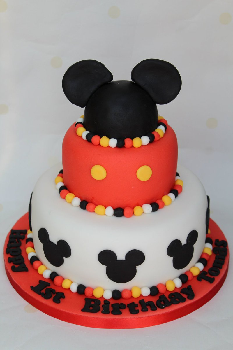 Phenomenal Striped Apron Bakery On Twitter Mickey Mouse 1St Birthday Cake Personalised Birthday Cards Bromeletsinfo