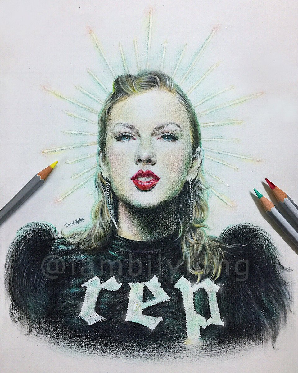 Lambilylong on twitter taylor swift drawn with colored pencil